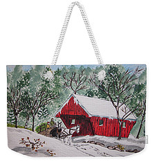 Red Covered Bridge Christmas Weekender Tote Bag