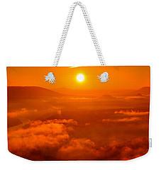 Red Dawn On The Lilienstein Weekender Tote Bag