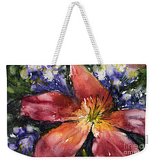 Red Daylily Weekender Tote Bag by Judith Levins