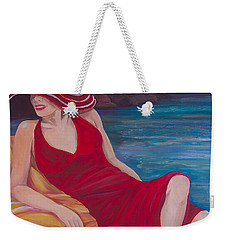 Red Dress Reclining Weekender Tote Bag