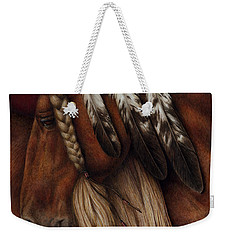 Weekender Tote Bag featuring the painting Red Eagle by Pat Erickson