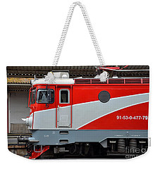 Weekender Tote Bag featuring the photograph Red Electric Train Locomotive Bucharest Romania by Imran Ahmed