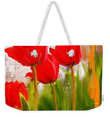 Red Enigma- Red Tulips Paintings Weekender Tote Bag by Lourry Legarde