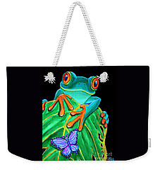 Red-eyed Tree Frog And Butterfly Weekender Tote Bag by Nick Gustafson
