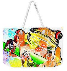 Red Eyed Tree Frog Grunge Weekender Tote Bag
