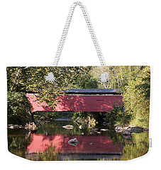 Red Fairhill Covered Bridge Two Weekender Tote Bag