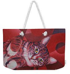 Weekender Tote Bag featuring the painting Red Feline Geometry by Pamela Clements