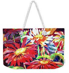 Red Floral Mishmash Weekender Tote Bag by Kathy Braud