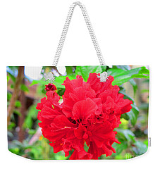 Red Flower Weekender Tote Bag by Sergey Lukashin