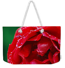 Weekender Tote Bag featuring the photograph Red Flower Wet by Matt Harang