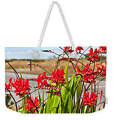 Red Flowers Crocosmia Lucifer Montbretia Plant Art Prints Weekender Tote Bag