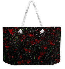 Red Flowers In Twilight  Weekender Tote Bag by Becky Lupe