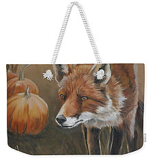Red Fox With Pumpkins Weekender Tote Bag