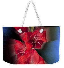 Weekender Tote Bag featuring the photograph Red Gladiola by Mark Greenberg