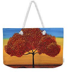 Red Happy Tree Weekender Tote Bag