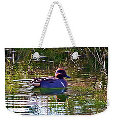 Weekender Tote Bag featuring the photograph Red Headed Duck by Susan Garren