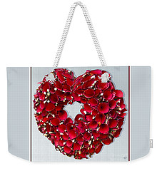 Weekender Tote Bag featuring the photograph Red Heart Wreath by Victoria Harrington