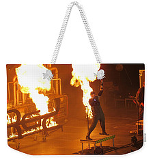Red Heats Up Winterjam In Atlanta Weekender Tote Bag by Aaron Martens