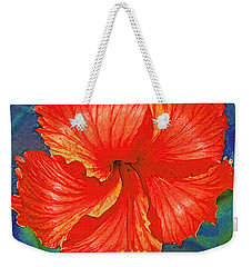 Red Hibiscus Flower Weekender Tote Bag by Jane Schnetlage