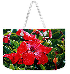 Weekender Tote Bag featuring the painting Red Hibiscus by Marionette Taboniar
