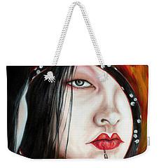 Weekender Tote Bag featuring the painting Red by Hiroko Sakai