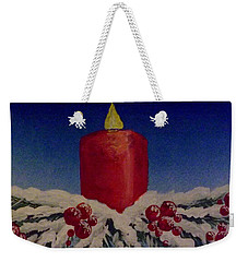 Red Holiday Candle Weekender Tote Bag by Darren Robinson