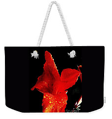 Weekender Tote Bag featuring the photograph Red Hot Canna Lilly by Michael Hoard
