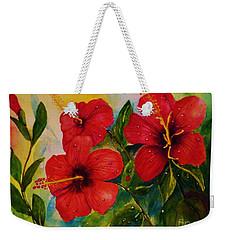 Red Hybiscus  Weekender Tote Bag