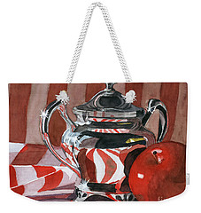 Red In Silver Weekender Tote Bag