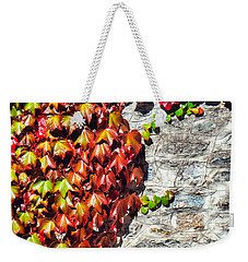 Weekender Tote Bag featuring the photograph Red Ivy On Wall by Silvia Ganora