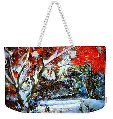 Red Japanese Maple In Snow Weekender Tote Bag