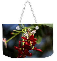 Weekender Tote Bag featuring the photograph Red Jasmine Blossom by Ramabhadran Thirupattur