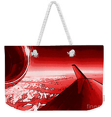 Weekender Tote Bag featuring the photograph Red Jet Pop Art Plane by R Muirhead Art
