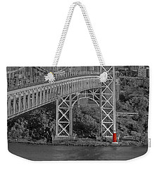 Red Lighthouse And Great Gray Bridge Bw Weekender Tote Bag