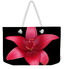 Weekender Tote Bag featuring the photograph Red Lily by Judy Whitton