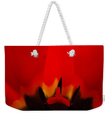 Weekender Tote Bag featuring the photograph Red Lips by Jani Freimann