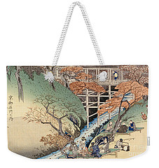 Red Maple Leaves At Tsuten Bridge Weekender Tote Bag by Ando Hiroshige