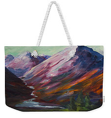 Weekender Tote Bag featuring the painting Red Mountain Surreal Mountain Lanscape by Yulia Kazansky
