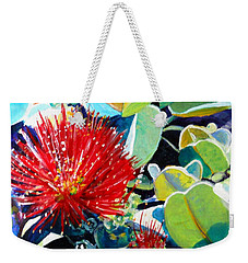 Red Ohia Lehua Flower Weekender Tote Bag