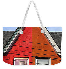 Weekender Tote Bag featuring the photograph Red-orange House by Nina Silver