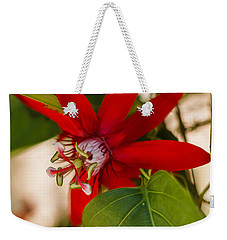 Weekender Tote Bag featuring the photograph Red Passion Flower by Jane Luxton