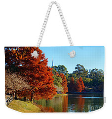 Red Pine On Lake Ella Weekender Tote Bag