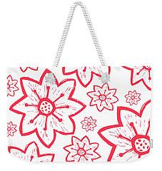 Red Poinsettia Pattern Weekender Tote Bag