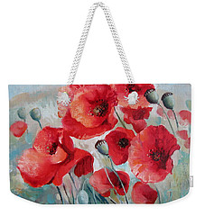Weekender Tote Bag featuring the painting Red Poppies by Elena Oleniuc