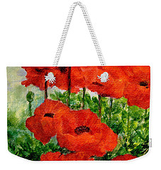 Red  Poppies In Shade Colorful Flowers Garden Art Weekender Tote Bag