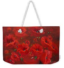 Red Poppies Weekender Tote Bag by Jenny Lee