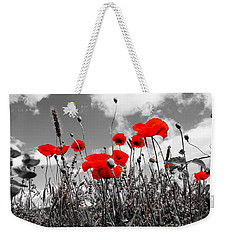 Red Poppies On Black And White Background Weekender Tote Bag