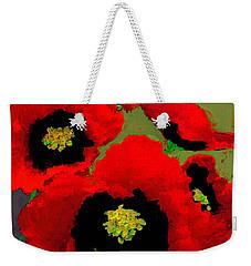 Red Poppies On Olive Weekender Tote Bag