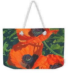 Weekender Tote Bag featuring the painting Red Poppies Three by Lynne Reichhart