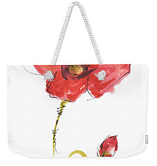 Red Poppy And Bud Weekender Tote Bag by Kathleen McElwaine